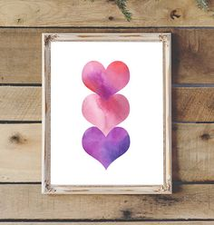 Watercolor Painting Hearts Love Printable 3 by 2LittleCrownsPrints