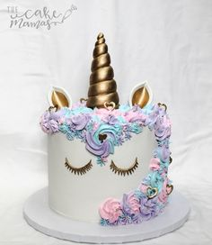 Pastel Themed Unicorn Cake Call or email to book your custom cake today! #Pastel #Unicorn #Birthday #Cake