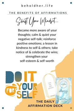 Shift Your Mindset I created this deck. I created it for myself, for my healing journey and it shifted my perspective.I'm a work-in-progress, aren't we all?The affirmations guide my journal entries and are the message for my meditation. They are 50 reminders of my awesome. www.beholdher.life Negative Self Talk, Journal Entries, Daily Affirmations, Powerful Words, Words Of Encouragement, Best Self, Self Esteem, Self Love, Mindset