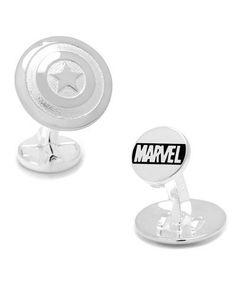 N47U9 Cufflinks Inc. Captain America Sterling Silver Shield Cuff Links