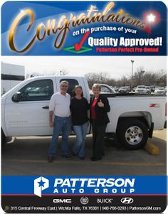 Congratulations to Rockie Cowley Jr. on his new truck! From Debra Gaye Cerda at Patterson Auto Group