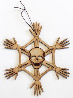 Skullflake Large Wood Skeleton Ornament by PaperWaspNest on Etsy, $15.00