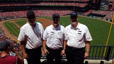 Hawkeye Stages in St Louis with drivers Ray Olsen, Jake Hildebrand and Steve Chamberlin enjoying a baseball game.