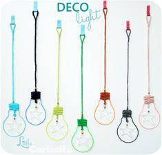 Décoration Murale à accrocher - Déco Light - Ampoules en Fer, Scoubidou et Crochet - Ampoule Déco Light - Cadeaux Naissance - Fait main - Made in France (1)