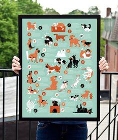 Hunde Alphabet Kinder Poster von 55his auf Etsy