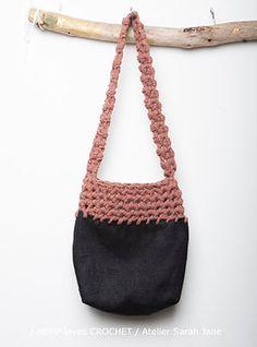100% black waxed hemp and crochet bag