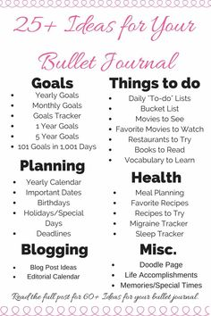 Here's a unique and detailed list of pages and collections for your bullet journal.