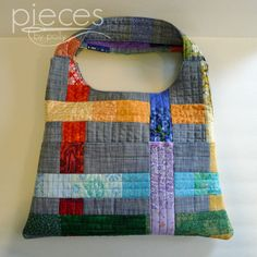 Pieces by Polly: Scrappy Stripes Quilted Tote Bag