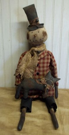 Primitive Grungy CHrisTmaS in JuLy Snowman Doll & His Black Kitty Cat #NaivePrimitive