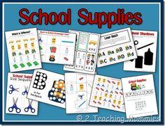 Free Preschool Printables: School Supplies Unit #homeschool