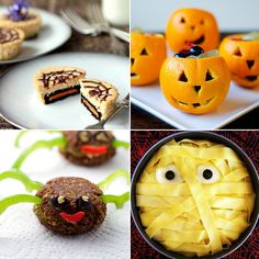 The hollowed out orange idea is a good one - first makes you think you're getting Halloween fruit (gag), but then rewards you by being full of sugar, food colouring and high-fructose corn syrup. And are those falafel spiders?