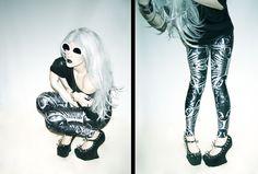 Ashley Joncas - Black Milk Clothing Bone Machine Leggings, Diy Spiked Night Walks, Sunglasses - Fry My Little Brains | LOOKBOOK