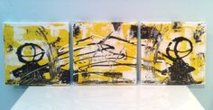 Internal battle, abstract figures in sci-fi combat. Three 20x20 cm canvases.