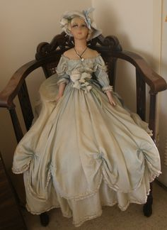 """Antique Lady of The French Court 30"""" Boudoir Doll All Original 2 Layer Silk Gown"""
