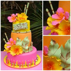 Cake Central Member: Tropical Teen So cool at universal 13 Birthday Cake, Luau Birthday, 13th Birthday, Birthday Parties, Luau Party Cakes, Luau Theme Party, Decors Pate A Sucre, Hawaii Cake, Hawaian Party