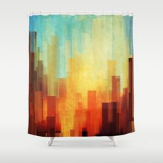 Buy Shower Curtains featuring Urban sunset by SensualPatterns. Made from 100% easy care polyester our designer shower curtains are printed in the USA and feature a 12 button-hole top for simple hanging.
