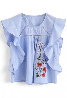 Wild thing! Slip into this blue embroidered top with ruffled shoulders and casual stripes. - Floral embroidery - Sleeveless design with frilling trimming - Eyelet inserted - Not lined - 65% polyester,35% cotton - Hand wash Size(cm)Length Bust Waist XS        50    90   106      S         51    94   110 M        52    98   114   L         53    102   118          Size(inch)Length  Bust  Waist XS        …