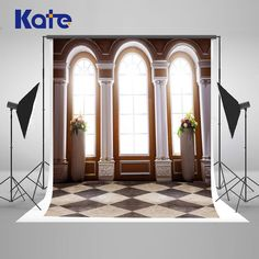 Kate Indoor Wedding Backdrop Square Glass Windows and Carved Columns Wedding Photo Large Size Seamless Photo