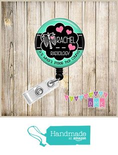 Personalized - Chest Xray with Hearts - Mint & Pink - Inside that Counts - Button Badge Reel - Retractable ID Holder - Alligator or Slide Clip Nurse Gift - Radiology - Xray Tech from DesignsbyDMK