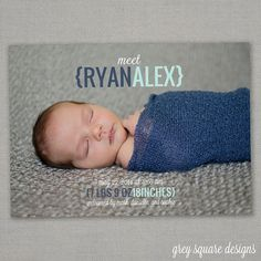 Meet Baby // Photo Birth Announcement by greysquare on Etsy