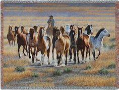 Bringing Em In Cowboy Horse Roundup Western Throw Blanket