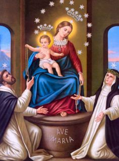 Happy Feast day of Our Lady of the Rosary! Prayer to Our Lady, Queen of the Most Holy Rosary O Queen of the Most Holy. Rosary Novena, Holy Rosary, Blessed Mother Mary, Blessed Virgin Mary, Catholic Art, Catholic Saints, Our Lady Of Pompeii, La Pieta, Santo Domingo
