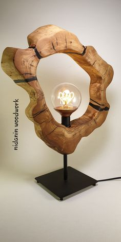 The evolution of olive wood in wood art. / Resin Olive wood table lamp by Nidanin Woodwork Table Lamp Wood, Wooden Lamp, Wooden Projects, Wood Crafts, Lamp Design, Wood Design, Driftwood Lamp, Wood Clocks, Wood Creations