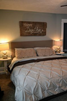 """Happy together"" barn wood sign and bedroom spruce-up"