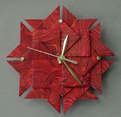 Origami Clock Red MarbledLarge by Giftedpapers on Etsy, $40.00