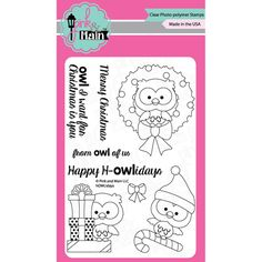 """hOWLidays - Pink & Main Clear Stamps 4""""X6"""""""