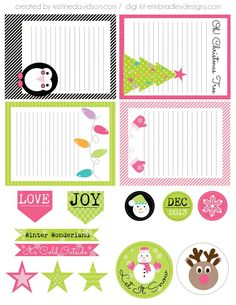 """Printable -- """"Let It Snow"""" Journal Cards and Labels"""