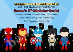 Superhero Invitation  DIY Print Your Own  Matching by jcbabycakes, $10.00