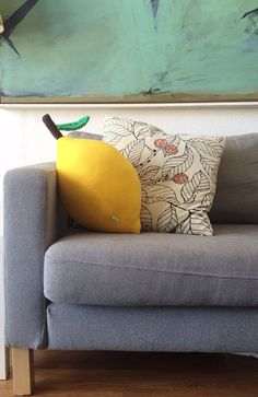 Giant Lemon Pillow - Large Fruit Cushion for Cool living Rooms - Gifts for Him