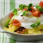 Poached Eggs with Bacon Polenta