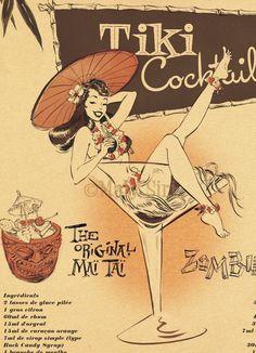 Tiki Party Fun with New Cocktail Recipe Book: The Mai Tai Manifesto - The Girl In The Jitterbug Dress Pop Art Vintage, Vintage Tiki, Retro Art, Vintage Ads, Vintage Posters, Vintage Advertisements, Tiki Art, Tiki Tiki, Tiki Hawaii