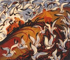 Sybil Andrews used painting and linocut printmaking to combine pastoral life with the dynamism of modernity. Futurism, Cubism and Vorticism were her major influences. Sybil Andrews, Linocut Prints, Art Prints, Block Prints, Canadian Artists, Wood Engraving, Print Artist, Printmaking, Illustration Art