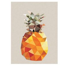 The geometric pineapple has a neutral linen style background. Please note colours on the actual print may be slightly different to the image shown, due to the colour settings of your screen.