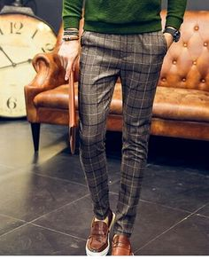 Gentleman Mode, Gentleman Style, Checked Trousers Mens, Casual Outfits, Fashion Outfits, Fashion Sale, Paris Fashion, Fashion Fashion, Runway Fashion
