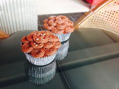 Malt Oreo cupcakes with chocolate buttercream. Used a funky little open star tip to pipe these rosette patterns. #cupcakes