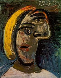 Pablo Picasso - Head of Blond Woman/Marie-Thérèse Walter, 1939 Art Picasso, Picasso Paintings, Oil Paintings, Landscape Paintings, Acrylic Painting Lessons, Oil Painting Abstract, Watercolor Artists, Painting Art, Watercolor Painting
