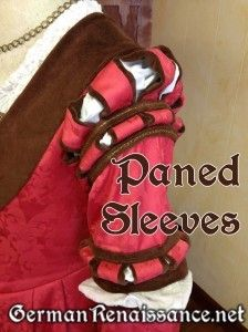 """Paned, or """"puff and slash,"""" German Sleeves: One Method For a Less Frayed, More Complete Look (TUTORIAL) (sleeves for historical Snow White) Costume Renaissance, Medieval Costume, Renaissance Fashion, Renaissance Clothing, Medieval Gown, Italian Renaissance, Cosplay Diy, Cosplay Costumes, Pirate Costumes"""