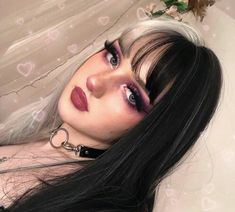 Items in each package: 1 sheet Cover size: average size Texture: Straight Wig length: long Material: Swiss lace Density: Can be scalded: No Frontal Hairstyles, Hairstyles With Bangs, Grunge Hairstyles, Split Dyed Hair, Half Dyed Hair, Half And Half Hair, Edgy Makeup, Joker Makeup, 80s Makeup