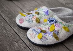 Beige felted slippers wool house shoes woolen clogs with purple blue flowers and green leaves embroidered slippers women home shoes US 8.5 by AureliaFeltStudio on Etsy