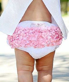 Loving this RuffleButts White & Pink Woven Ruffle Diaper Cover - Infant on #zulily! #zulilyfinds