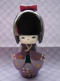 Japanese Purple Kokeshi Doll