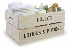 Personalised bathroom storage crates