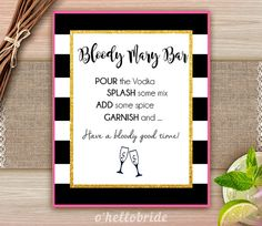 Bloody Mary Bar Sign Black and White Pink Gold  by ohellobride