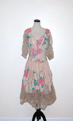 Vintage Dress Gypsy Dusty Rose by CheekyVintageCloset on Etsy, $62.00