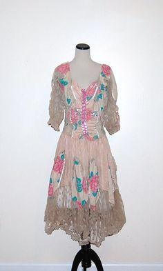 Vintage Dress Gypsy Dusty Rose by CheekyVintageCloset on Etsy, $62.00