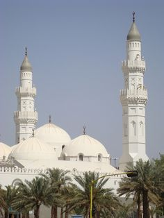 The white minarets of Masjid Quba in Medina, Saudi Arabia - by Ammer Amin